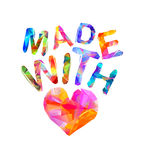 Made with love heart symbol. Royalty Free Stock Images