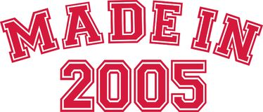 Made in 2005. College font Stock Photography