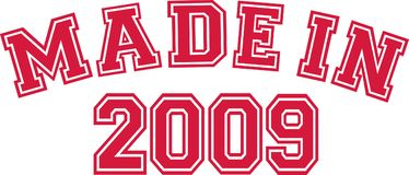 Made in 2009. College font Royalty Free Stock Images