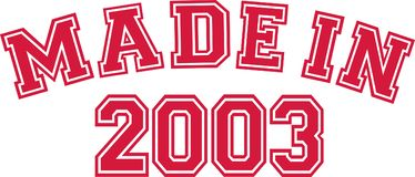 Made in 2003. College font Stock Images