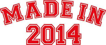 Made in 2014. College font Royalty Free Stock Image