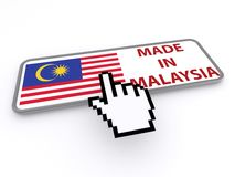 Made in Malaysia button. 3d illustration of a cursor hand hovering over a made Malaysia button, white background Royalty Free Stock Photos