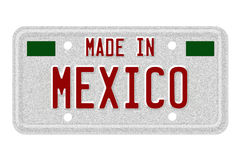 Made in Mexico License Plate. The words Made in Mexico in flag colors on a gray license plate  on white Stock Photo