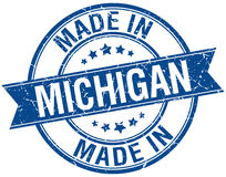 Made in Michigan blue round stamp Stock Photography