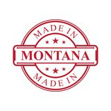 Made in Montana label icon with red color emblem on the white background. Vector quality logo emblem design element. Vector illustration EPS.8 EPS.10 stock illustration