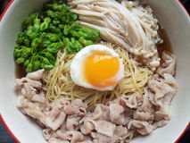Made my meal. Noodles with vegetables and pork in shoyu soup Stock Image