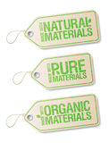 Made with Natural Pure Materials labels. Royalty Free Stock Image