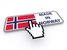 Made in Norway button. 3d cursor hand hovering over a made in Norway button, white background Stock Images