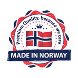 Made in Norway, Premium quality. Because we care - label / icon / badge with the flag of Norway. Print colors CMYK used Royalty Free Stock Images