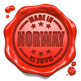 Made in Norway - Stamp on Red Wax Seal. Royalty Free Stock Photos