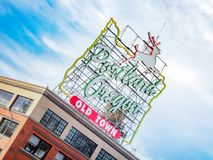 Made in Oregon White Stag sign in Old Town Portland Oregon Royalty Free Stock Photography