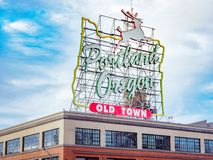 Made in Oregon White Stag sign in Old Town Portland Oregon. Portland, US - Dec 21, 2017 : Made in Oregon White Stag sign in Old Town Portland Oregon Royalty Free Stock Image