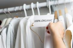 Made of 100% organic materials. T-shirt made of 100% organic materials stock photos