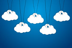 Made of paper clouds are hanging on the ropes Royalty Free Stock Photography
