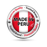 Made in Peru, Premium quality, trusted brand. Business commerce shiny icon with the flag of Peru on the background. Suitable for retail industry Stock Image