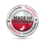 Made in Poland, Premium Quality, trusted brand. Business commerce shiny icon with the Polish flag on the background. Suitable for retail industry Stock Photo