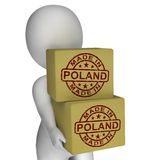 Made In Poland Stamp On Boxes Shows Polish Products Royalty Free Stock Image