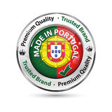 Made in Portugal, Premium quality, trusted brand. Business commerce shiny icon with the flag of Portuguese on the background. Suitable for retail industry Stock Photography