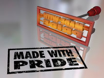 Made With Pride Branding Iron Proud Mark Handcraft Product. Made with Pride branding iron marking a product to show you are proud of what you manufactured with Stock Photography