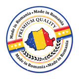 Made in Romania, Premium Quality - Romanian language. Made in Romania, Premium Quality text written Romanian language -  grunge stamp with the map and the Stock Image
