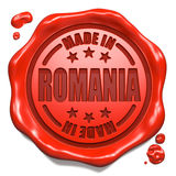 Made in Romania - Stamp on Red Wax Seal. Stock Image
