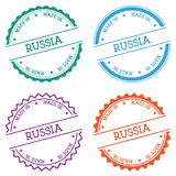 Made in Russia badge isolated on white background. Flat style round label with text. Circular emblem vector illustration Stock Photography