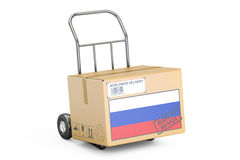 Made in Russia concept. Cardboard Box on Hand Truck, 3D renderin Royalty Free Stock Photography
