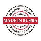 Made in Russia.  Premium Quality. Made in Russia. Premium Quality - grunge printable label. Grunge label with national Russian flag colors Stock Image