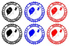 Made in Sao Tome and Principe rubber stamp. Made in Sao Tome and Principe - rubber stamp - vector, Sao Tome and Principe map pattern - black, blue and red Royalty Free Stock Images