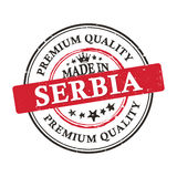 Made in Serbia, Premium Quality grunge printable sticker. Made in Serbia, Premium Quality grunge printable label / stamp / sticker. CMYK colors used Stock Image