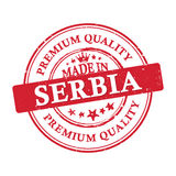 Made in Serbia, Premium Quality grunge printable sticker. Made in Serbia, Premium Quality grunge printable label / stamp / sticker. CMYK colors used Royalty Free Stock Photos