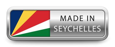 MADE IN SEYCHELLES metallic badge with national flag isolated on white background vector illustration