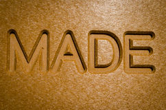 Made sign. Close up detail of made sign Royalty Free Stock Photography
