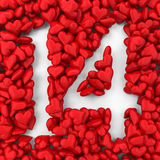 14 made from small hearts. 3d illustration  on white background Royalty Free Stock Photos