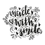 Made with smile. Lettering made with smile. Hand drawn vector illustration, brushpen. Hand lettering quote for handcrafted products. Calligraphic logo for Stock Photo