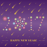 2017 made of snowflakes. Hand Drawn Colorful Shinning Snowflakes arranged in shape of 2017 on Night Sky with Golden Falling Stars. Perfect for Festive design Stock Photography