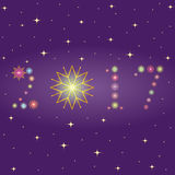 2017 made of snowflakes. Hand Drawn Colorful Shinning Snowflakes arranged in shape of 2017 on Night Sky. Royalty Free Stock Image