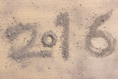 2016 made by soil on wood Stock Photo