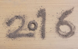 2016 made by soil on wood.New Year 2016 concept Stock Photo