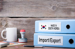 Made In South Korea. Two binders on desk in the office. Business royalty free stock photos