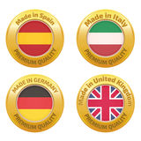 Made in Spain, Italy, Germany, United Kingdom badges Stock Images