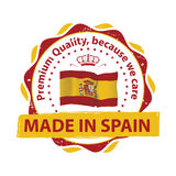 Made in Spain, Premium Quality stamp. Made in Spain, Premium Quality , because we care - grunge label containing the Spanish flag. Print colors used Royalty Free Stock Photo