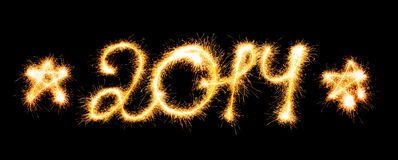 2014 made a sparkler Stock Image