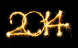2014 made a sparkler Royalty Free Stock Photo