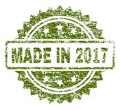Grunge Textured MADE IN 2017 Stamp Seal. MADE IN 2017 stamp seal watermark with rubber print style. Green  rubber print of MADE IN 2017 tag with grunge texture Royalty Free Stock Image