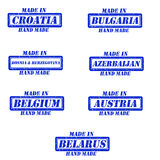 Made in stamps. Set of stamps made in croatia,bulgaria,bosnia&herzegovina,azerbaijan,belgium,austria,belarus Stock Image