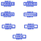 Made in stamps. Set of stamps made in andorra,albania,armenia,united kingdom,ukraine,turkey,vatican Stock Photo