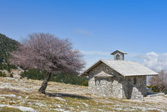 Made of stones chapel. Winter landscape with a small chapel a tree and blue sky  on mountain Helmos near Kalavryta town in Greece Stock Image