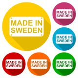 Made in Sweden icons set with long shadow Stock Image
