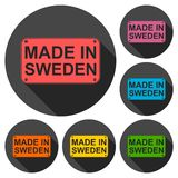 Made in Sweden icons set with long shadow Stock Photos